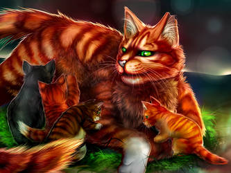 Warriors: Squirrelflight and her kits by Marshcold