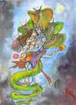 Vishnu, Lakshmi by zaradei