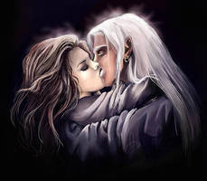 Drizzt's and Catti-brie's Kiss by CurlyJul