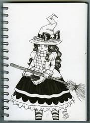 Inktober 16 Witch by honeymil
