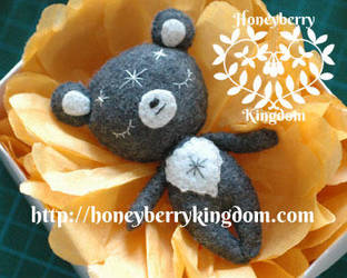 One of a kind bear felt plush by honeymil