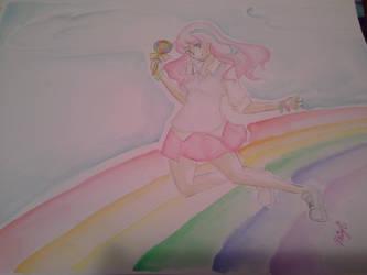 rainbow watercolor girl by Miyuchi12
