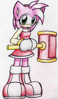 Amy and her hammer by TanyaTheHedgehog