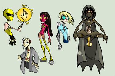 Superhero character designs by FireflyDelilah