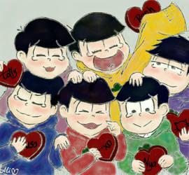 NEETs in Valentine's Day (Osomatsu-san)  by datshipstuff