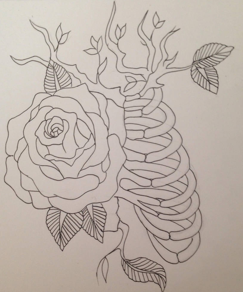 Rib Cage And Rose Tattoo Design Outline By Vettiecat On Deviantart