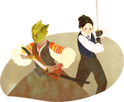 Madame Vastra and Jenny by OrangePopFox