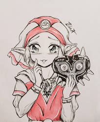 Linktober 12 Mask and 18 Zelda by zilia-k