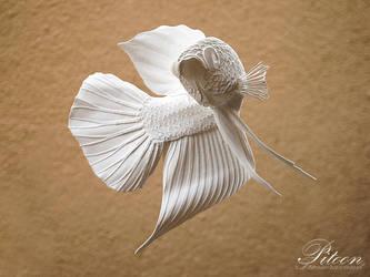 Betta Smaragdina Paper sculpture  by 8thLeo