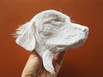 Golden Retriever white paper sculpture by 8thLeo