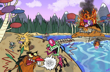 Angry Beavers and Invader Zim _ Fanart crossover by Dazecase