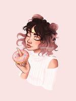 Donut girl by juditmallolart