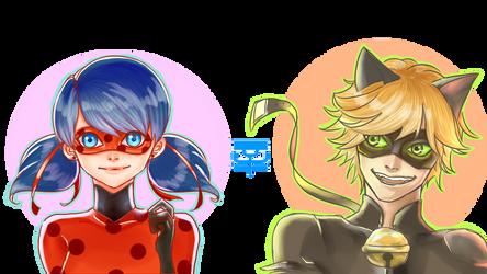 Cat Noir And Ladybug by matsukichii
