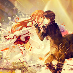 Asuna and Kirito - Sword Art Online by jonatking