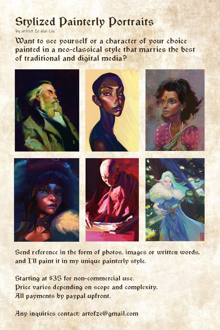 Ze Commission Info For Painterly Portrait by Nimphradora