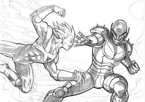Vegeta VS Ultron by mikemaluk