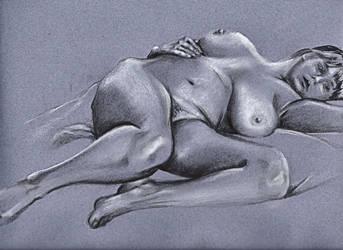 Reclining female nude 4 by scribbler