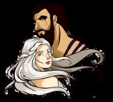 Khal Drogo and Khaleesi by Rach-art