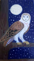Wood Block Barn Owl by CheshireDivine