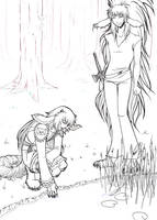 By the pond lineart by LunaJMS