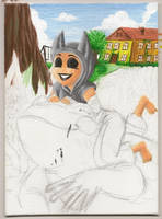 Viking acrylic painting WIP by LunaJMS