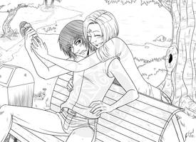 Caelen and Sairys in the park by LunaJMS