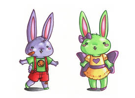 Bunny siblings Copic markers and colored pencil by LunaJMS