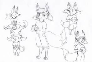 Fox girl in different styles by LunaJMS