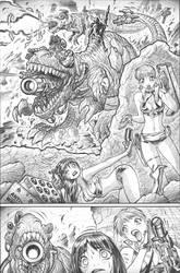 DIRTY PAIR v. weaponized dinosaurs by AdamWarren