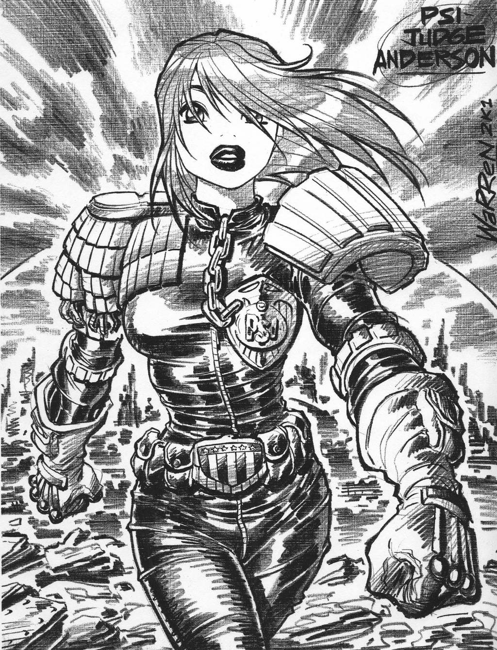 Judge Dredd's PSI-JUDGE ANDERSON, '01 by AdamWarren