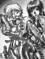 DEUNAN and MAJOR KUSANAGI, 2001 sketch by AdamWarren