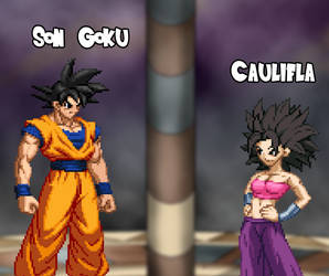 Art Trade - Goku and Caulifla by AsylusGoji91
