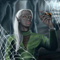 Drow and his pet by littlegoblet