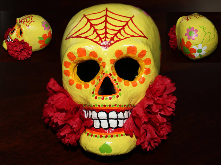 Paper Mache Dia De Los Muertos Skull 4 SOLD by angelacapel