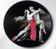 Dancing couple on vinyl record by vantidus