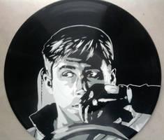 Drive Ryan Gosling stencil on vinyl record by vantidus