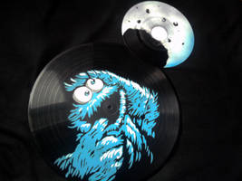 Cookie Monster with Cookie Moon on vinyl records by vantidus