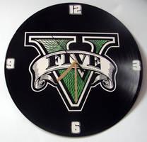 Grand Theft Auto V painted on vinyl record clock by vantidus