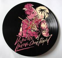 Hotline Miami painted on vinyl record clock by vantidus