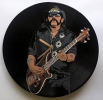 Lemmy painted on vinyl record by vantidus