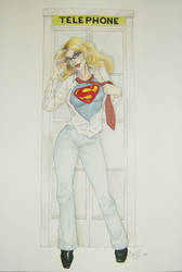 Supergirl Phone booth commish by AmberStoneArt