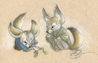 Fox Frogs by AmberStoneArt