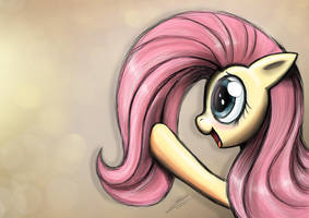 Fluttershy playing with her mane by Dori-to