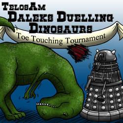 Telos Am - Daleks Duelling Dinosaurs by Sofa-Cushion