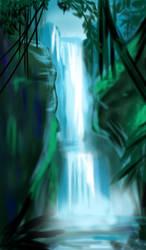 jungle waterfall by ELLRarte