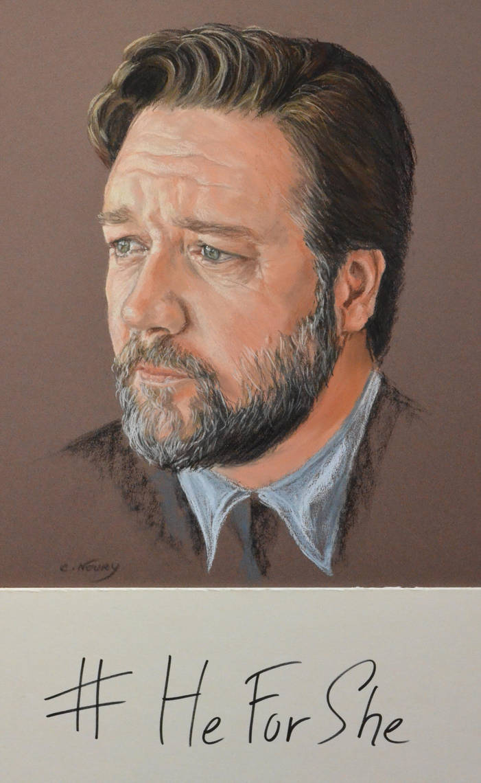 Russell Crowe portrait 'heforshe' by Andromaque78