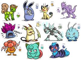 Pokemon Fusions by pettyartist