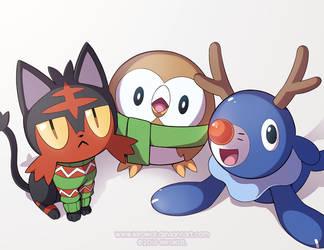 Pokemon Christmas Party by KiiroiKat