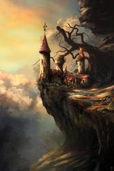 Cliffside Castle (digital version) by PieterSneep