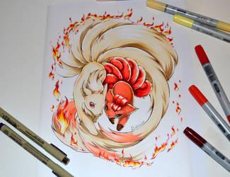 Vulpix and Ninetales Tattoo by Lighane